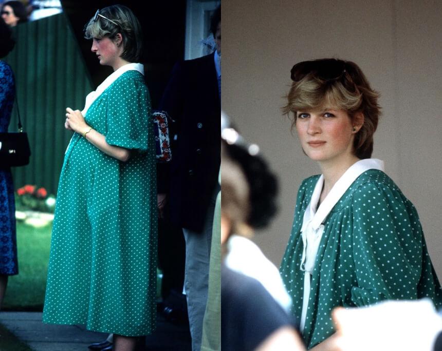 princess diana pregnant green polka dots