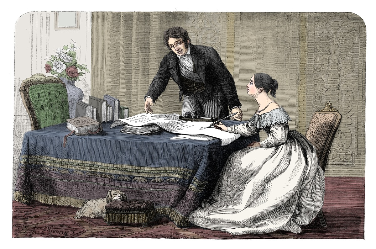 Lord Melbourne (1779-1848) Instructing A Young Queen Victoria 1819-1901)