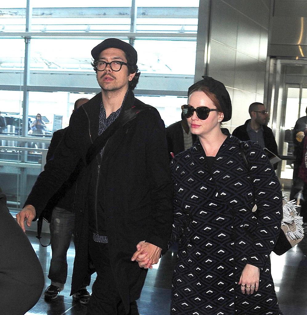 Christina Hendricks and husband in matching black