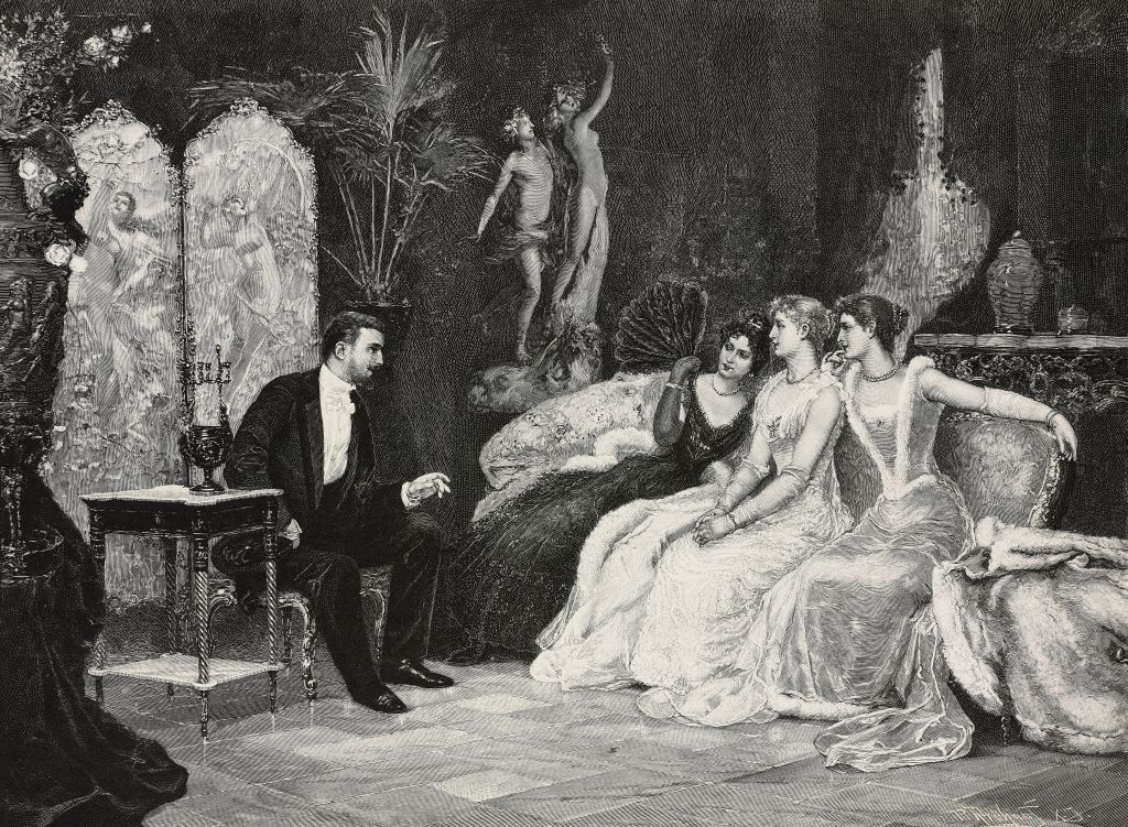 The gallant conversation, painting by Juan Pablo Salinas (1871-1946), woodcut by P Fruehauf from Moderne Kunst (Modern Art), illustrated magazine published by Richard Bong, 1892-1893, Year VII, No 4, Christmas Issue, Berlin.