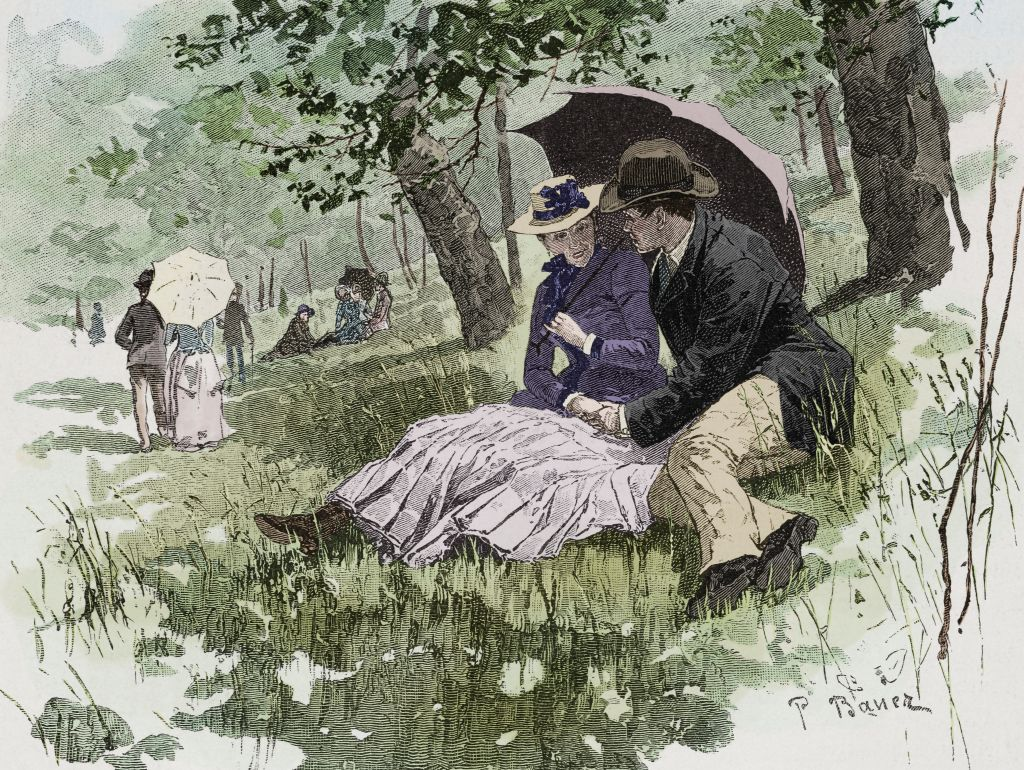 The rejected instigator: gallant scene in a park, a man tries to read his beloved's hand, illustration from Fliegende Blaetter, humour and satire magazine, No 2090, 1885. Digitally colorized image.