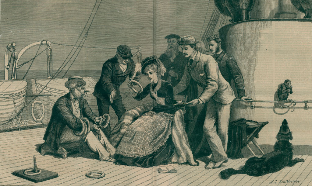 The ship's belle, a young woman courted by some men on board a transatlantic steamer, illustration from the magazine The Graphic,