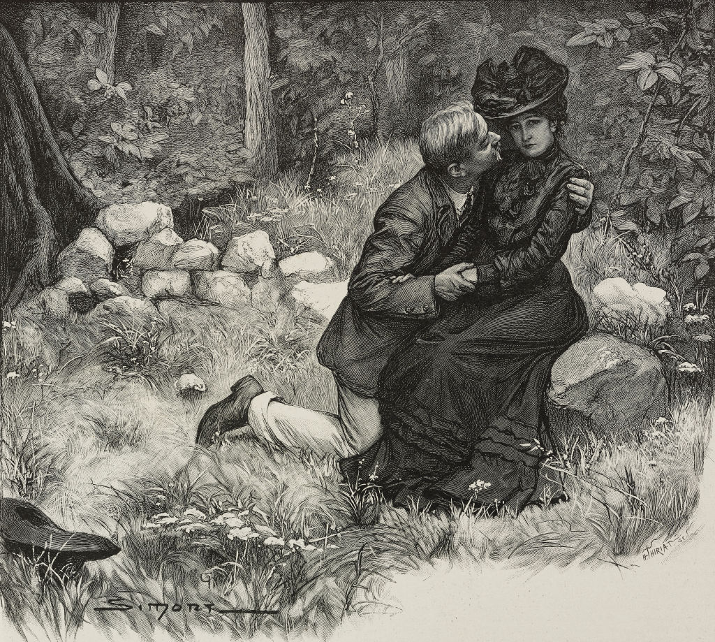 old victorian photo of man kissing a woman sitting down