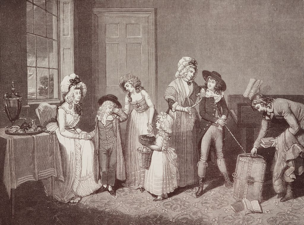 Black Monday or the departure for school, a crying baby, painting by William Redmore Bigg (1755-1828), engraving by John Jones, published December the 1st, 1790; dress, manners and art in the 18th century, United Kingdom,
