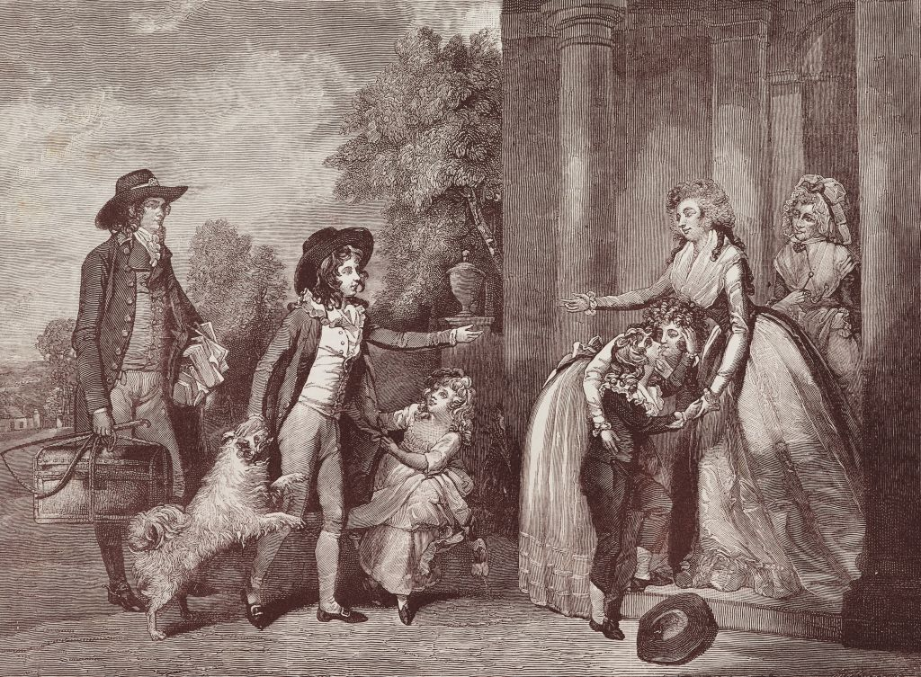 ulce Domum or the return from school, painting by William Redmore Bigg (1755-1828), engraving by John Jones, published December the 1st, 1790; dress, manners and art in the 18th century, United Kingdom, illustration from the magazine The Graphic, volume XXX, no 774, September 27, 1884.