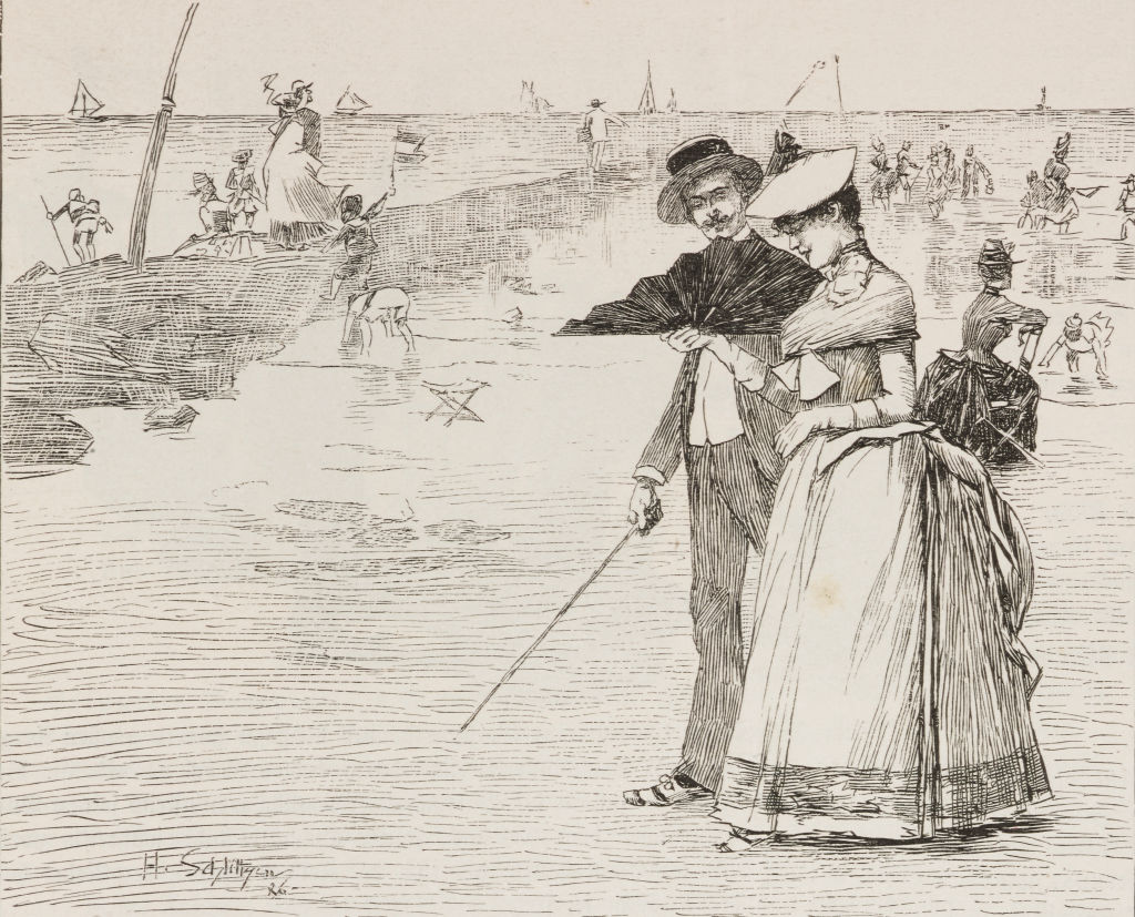 Holidays over: couple by the sea, gallant scene, illustration from Fliegende Blaetter, humour and satire magazine, No 2154, 1886.