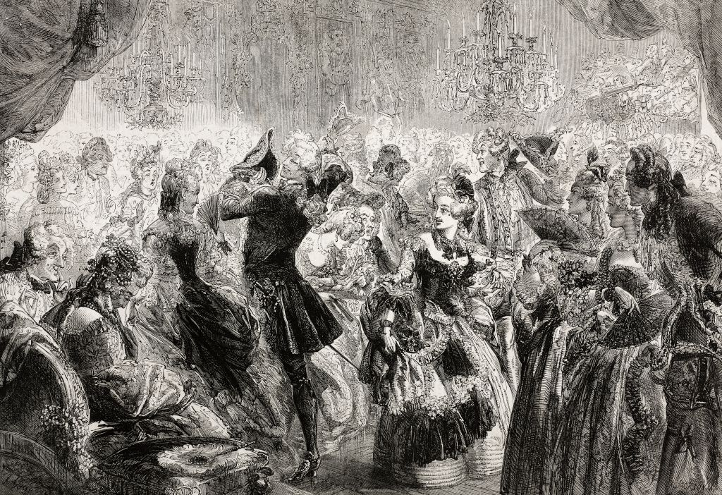 Powder and pug, gallant scene at the ball, illustration from the magazine The Illustrated London News, volume XLI, December 20, 1862.