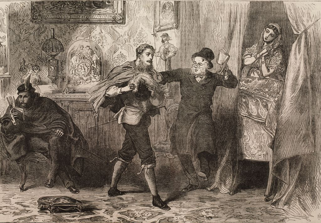 The word, a charade, gallant scene in a house, drawing by A Hunt, illustration from the magazine The Illustrated London News, volume XLIX, December 22, 1866.