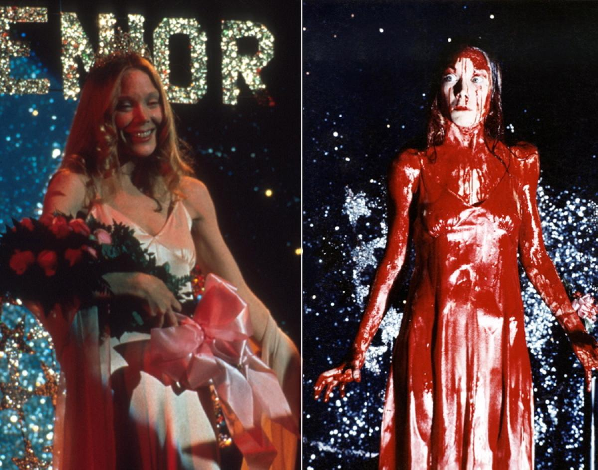 carrie pink satin dress and blood covered