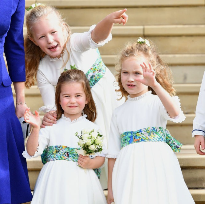 Savannah Phillips, Princess Charlotte of Cambridge and Maud Windsor attend the wedding of Princess Eugenie of York and Jack Brooksbank at St George's Chapel on October 12, 2018