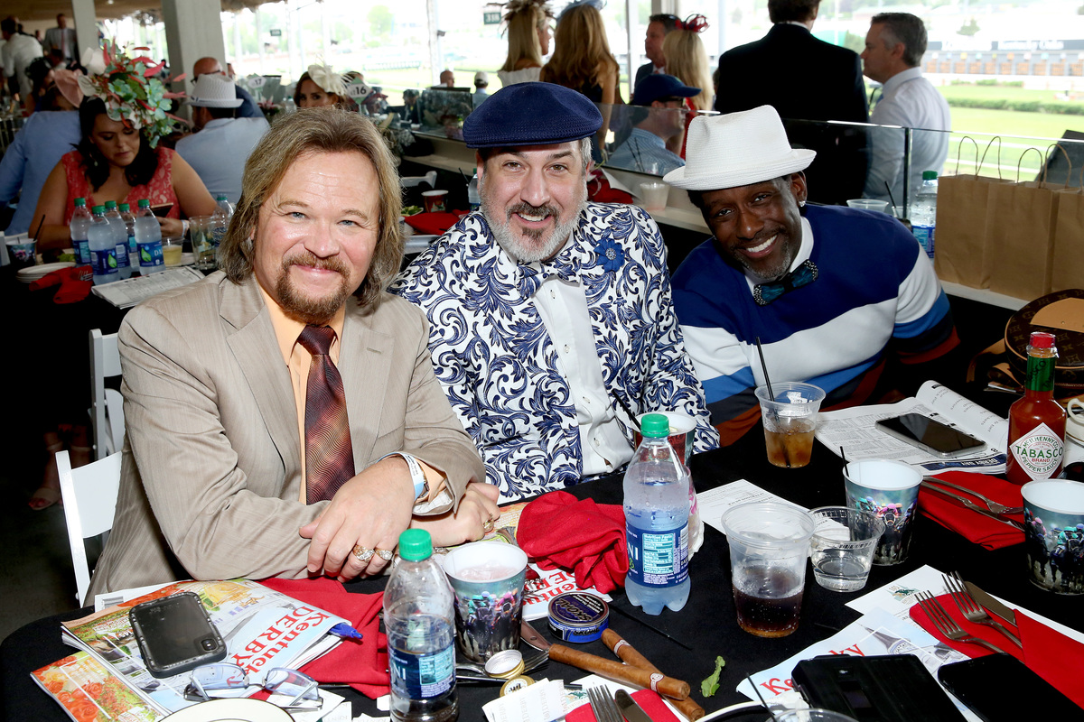 Travis Tritt and Joey Fatone attend the 145th Kentucky Derby at Churchill Downs on May 4, 2019 in Louisville, Kentucky.