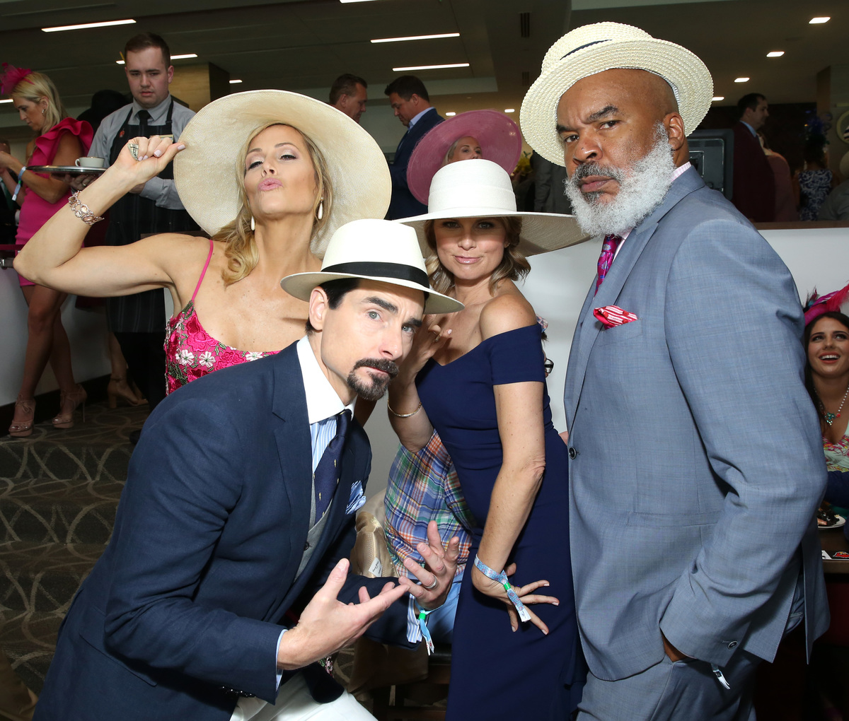 Kristin Richardson, Kevin Richardson, David Alan Grier and guest attend the 145th Kentucky Derby at Churchill Downs on May 4, 2019 in Louisville, Kentucky.
