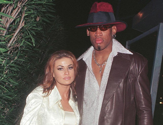 Dennis Rodman celebrates his first winning game out on the town at GOODBAR with wife Carmen Electra