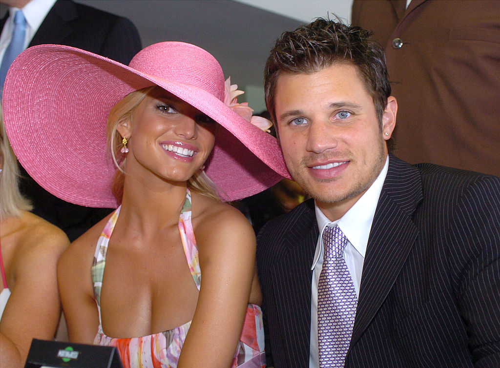 Jessica Simpson and Nick Lachey attend the 130th Running of the Kentucky Derby May 1, 2004 in Louisville, Kentucky