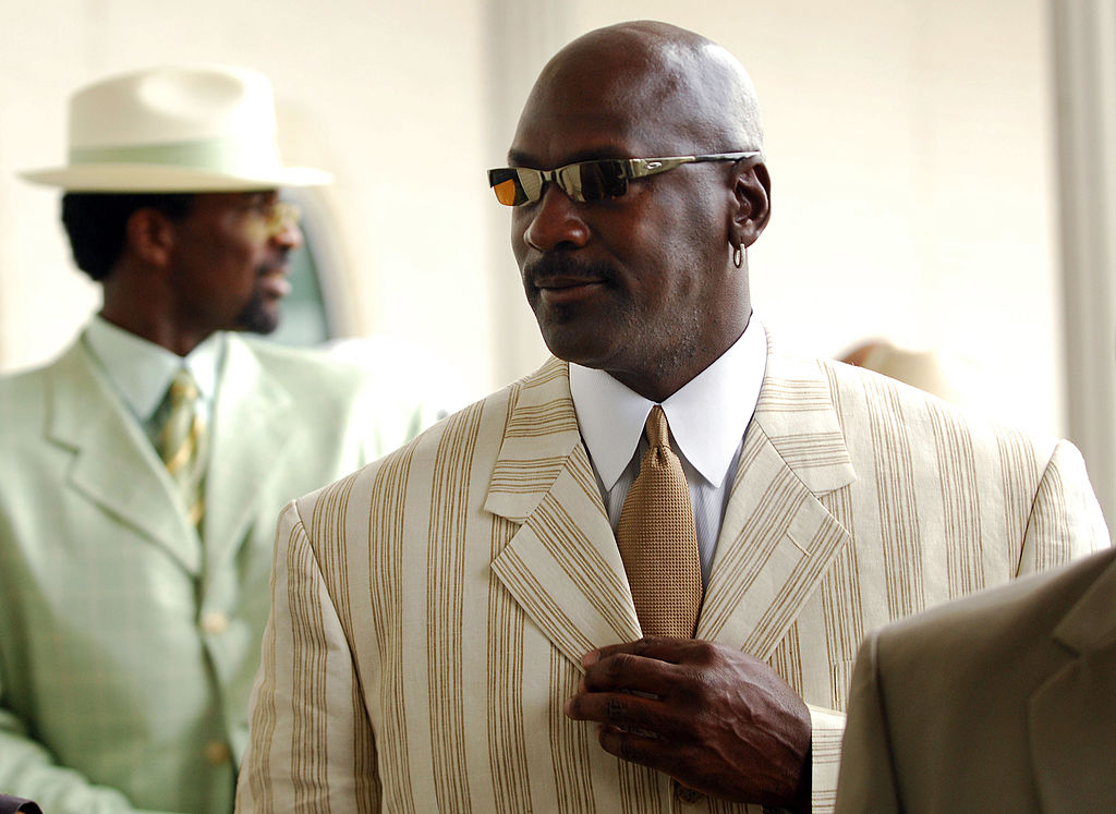 Former basketball player Michael Jordan arrives at the 133rd running of the Kentucky Derby at Churchill Downs on May 5, 2007 in Louisville, Kentucky