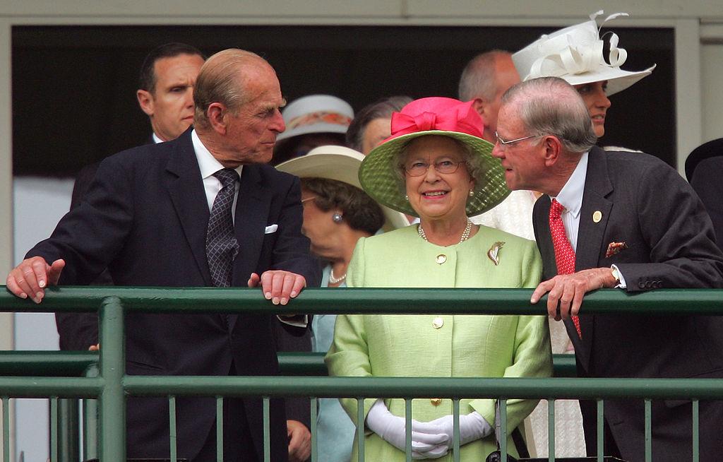 Prince Philip, Duke of Edinburgh and Queen Elizabeth II attend the 133rd Kentucky Derby