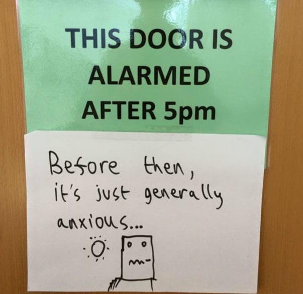 this door is alarmed generally anxious