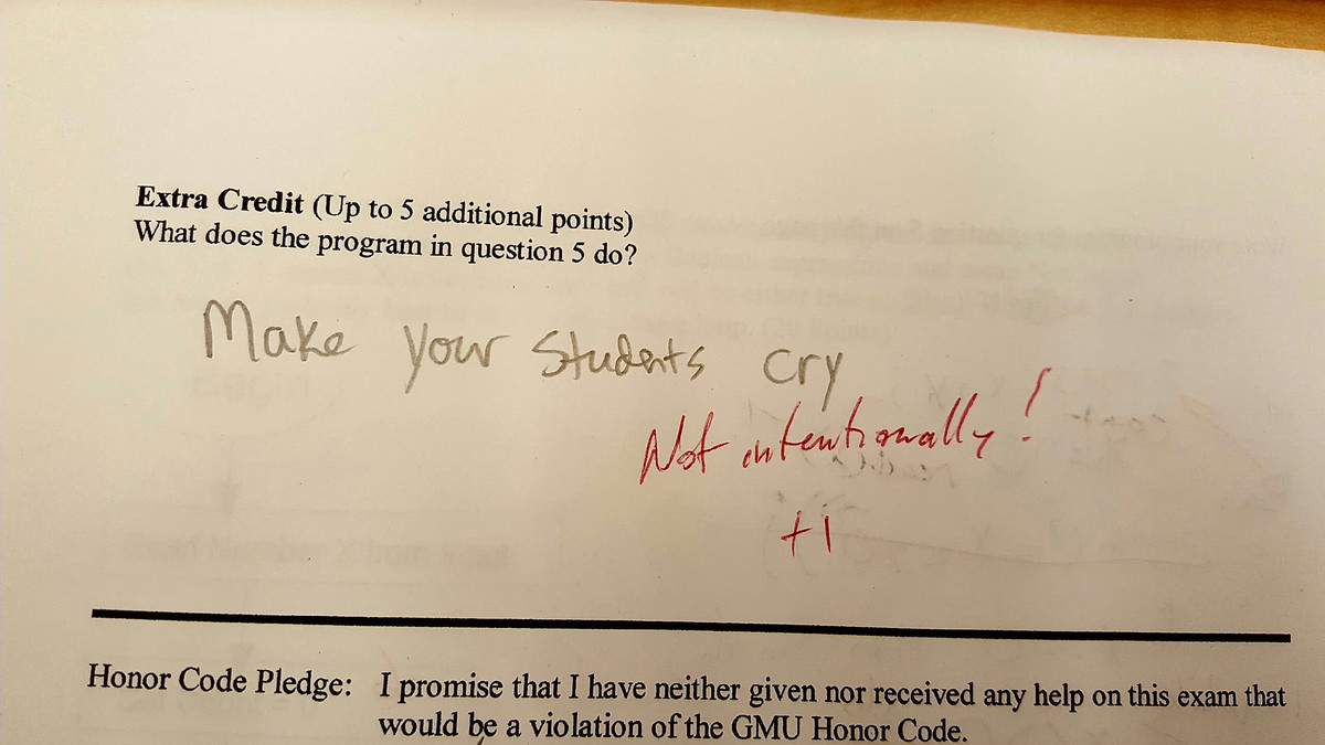 student gives honest test answer