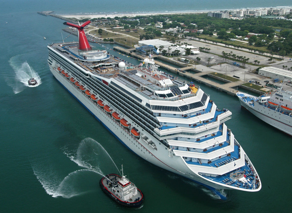 the new Carnival Glory arrives July 11, 2003 in Cape Canaveral, Florida.