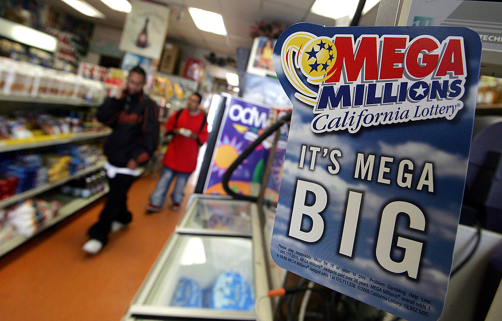 An advertisement for the Mega Millions  lottery is seen June 23, 2005 in San Francisco, California.