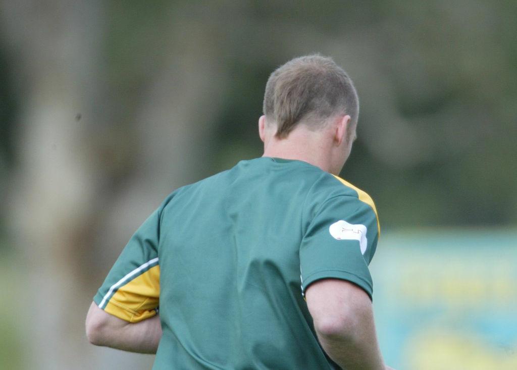 Darren Lockyer Australian Captain with his hair style at Kangaroos training
