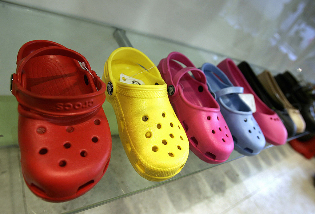 A sample of Crocs shoes on display