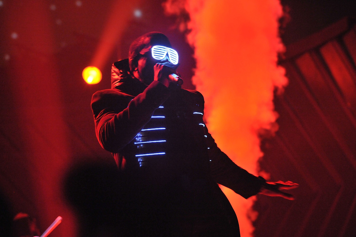 Rapper Kanye West on stage at the 50th Annual GRAMMY Awards wearing shutter shades