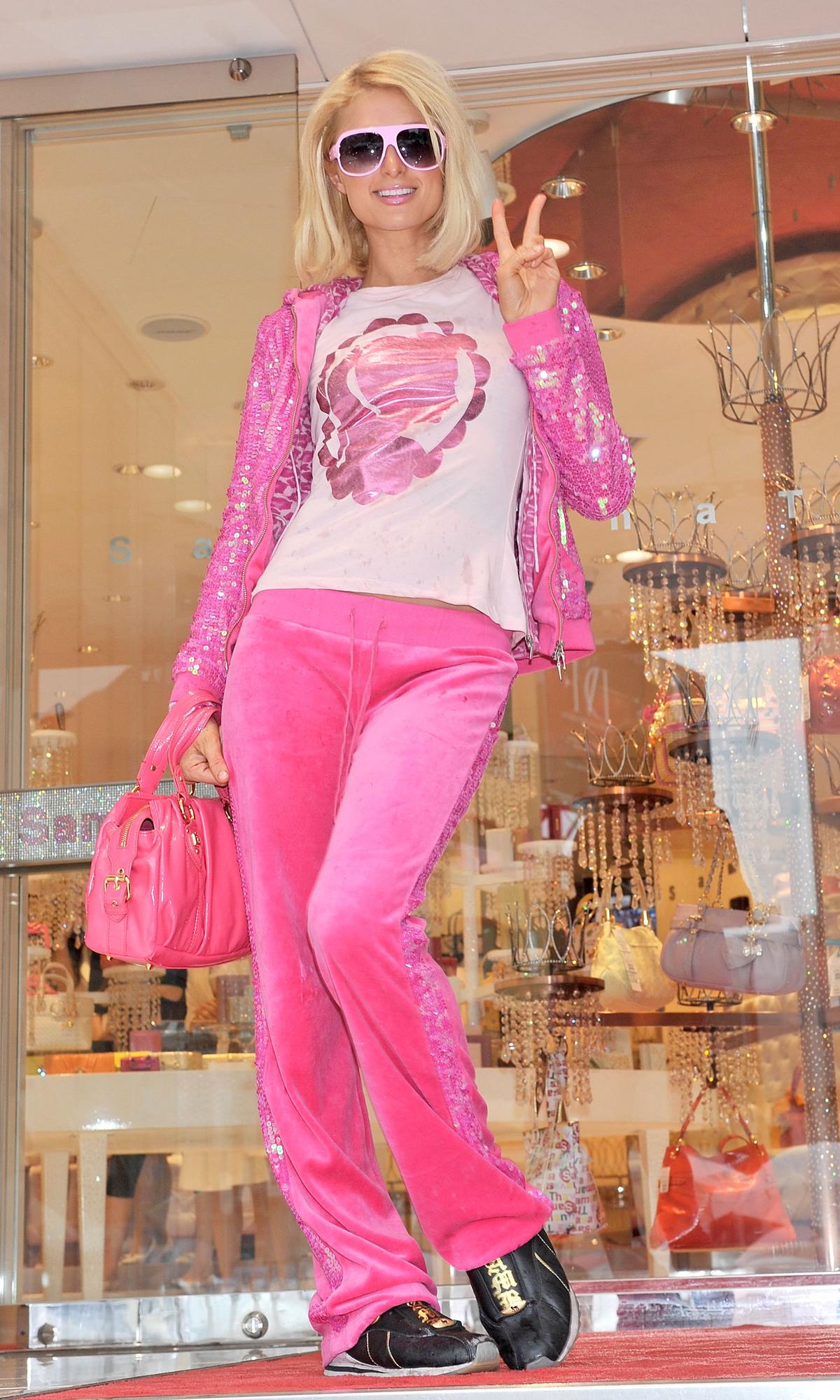 paris hilton wearing pink velour sweatsuit
