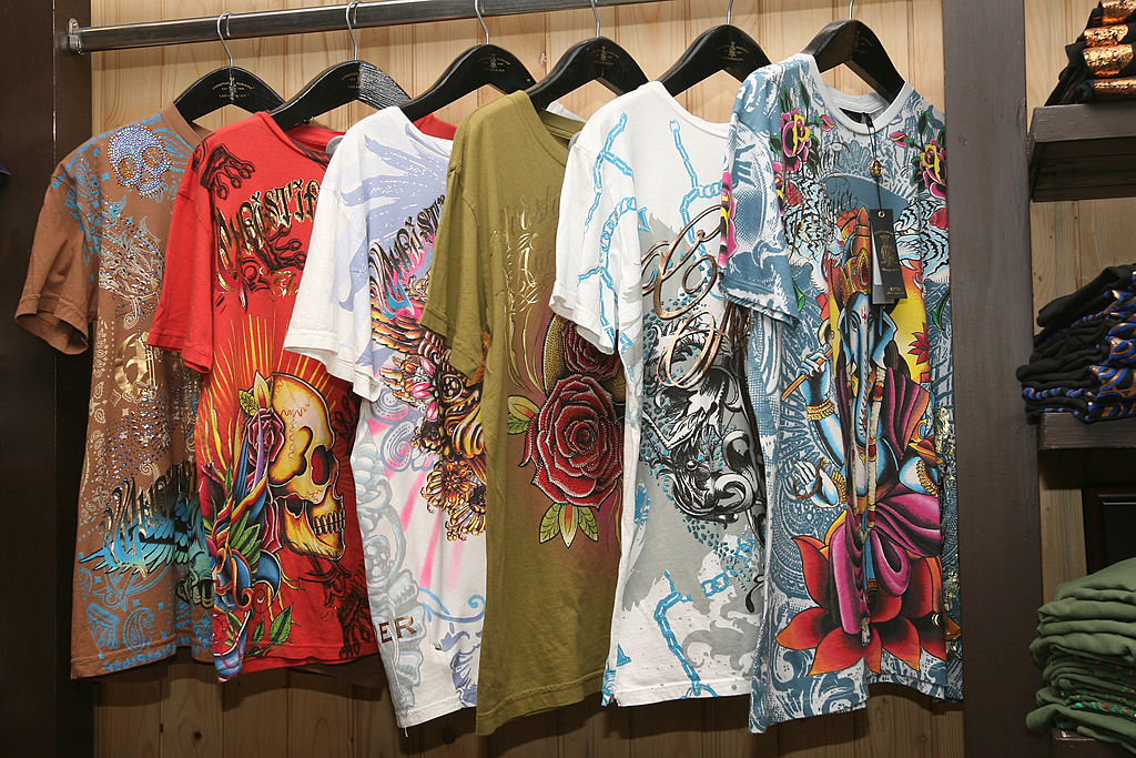 T-shirts are displayed at the Ed-Hardy store