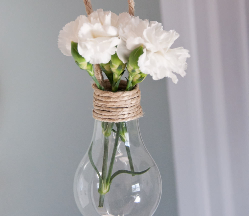 Light bulb bouquet hanging from a string