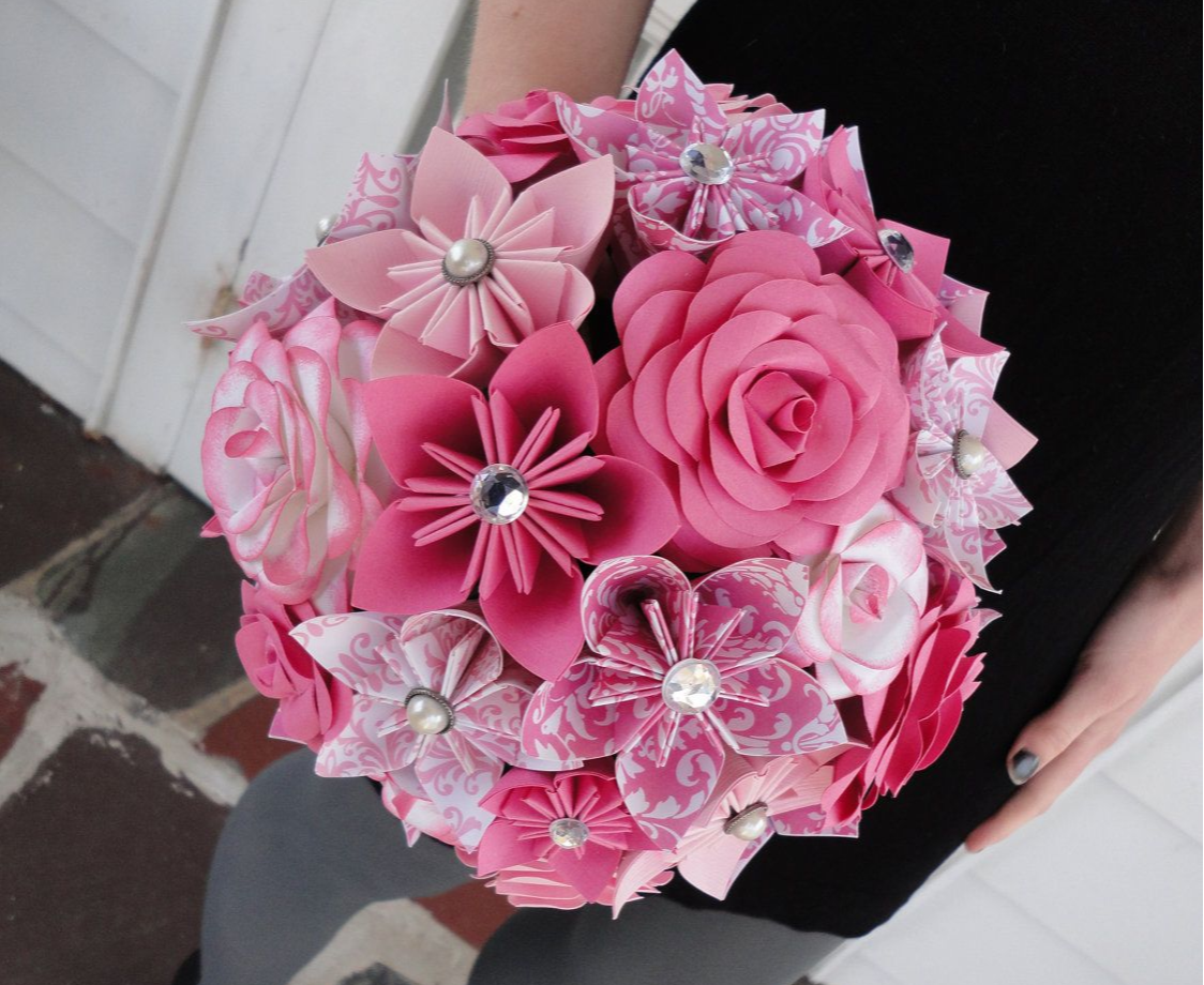 Pink origami bouquet