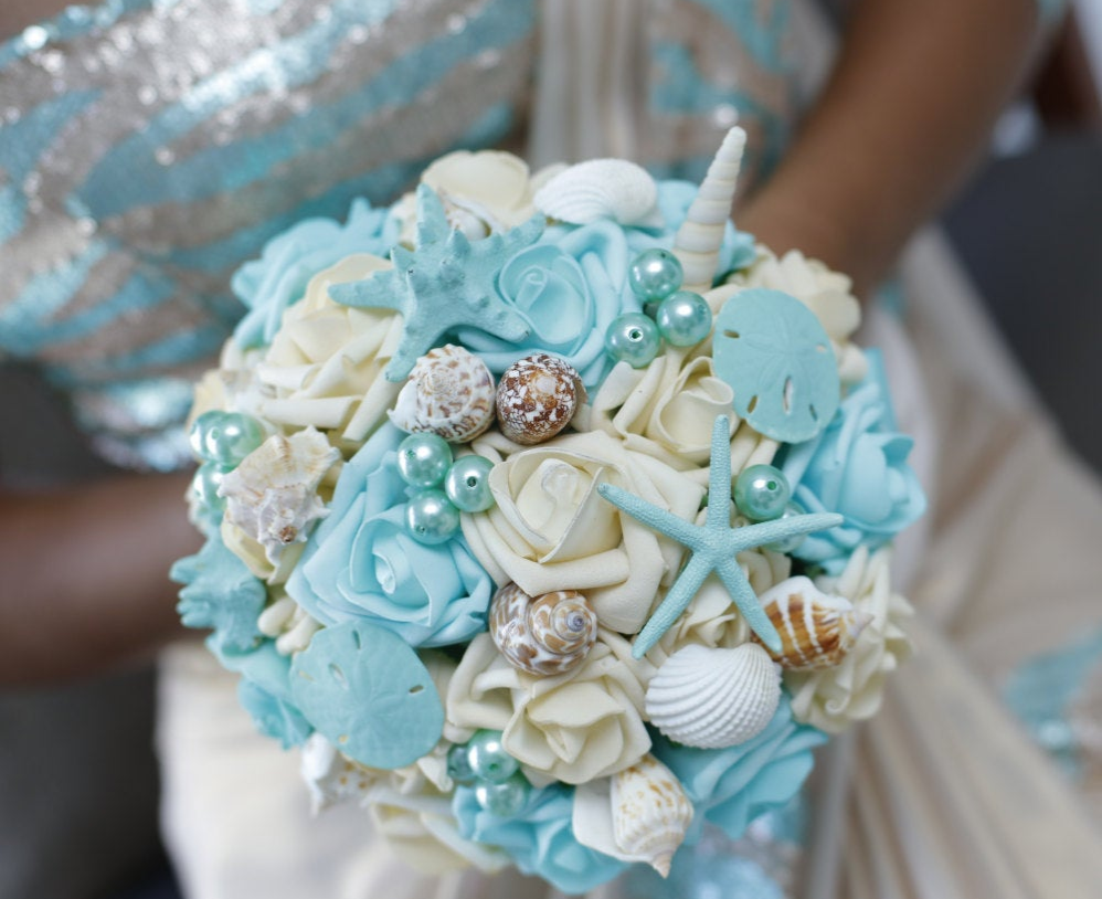 Seashell and flower bouquet