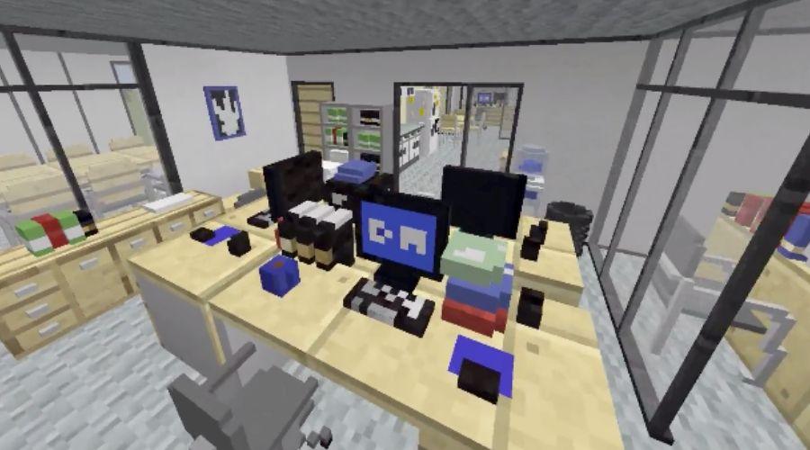 the office stanley and phyllis' desks minecraft build