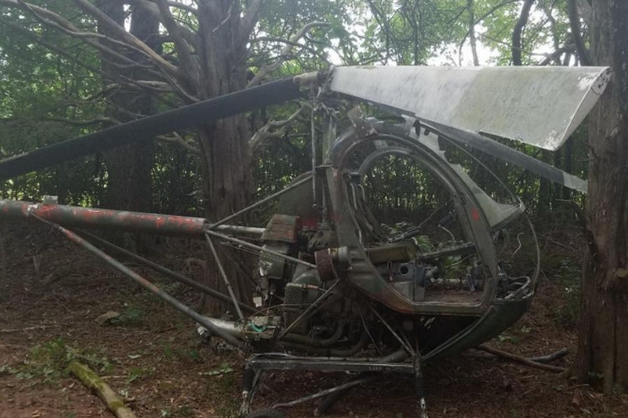 helicopter in the woods abandoned decrepit