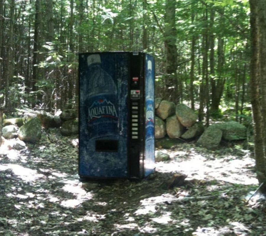 vending machine in the forest abandoned aquafina