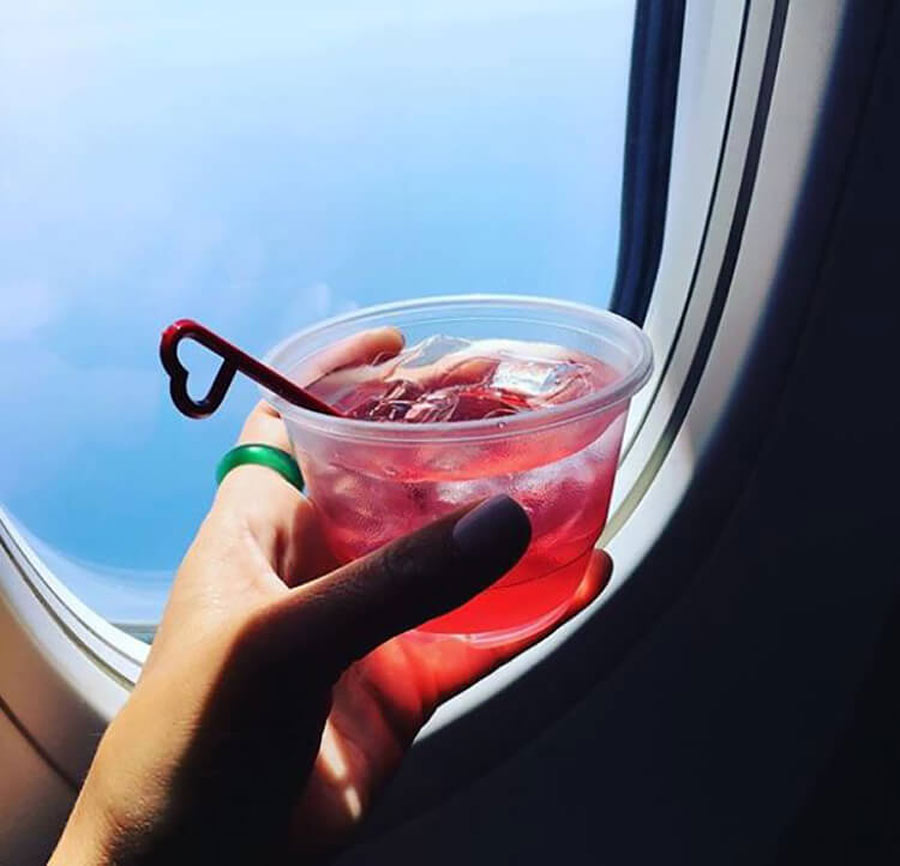 drinking on a plane
