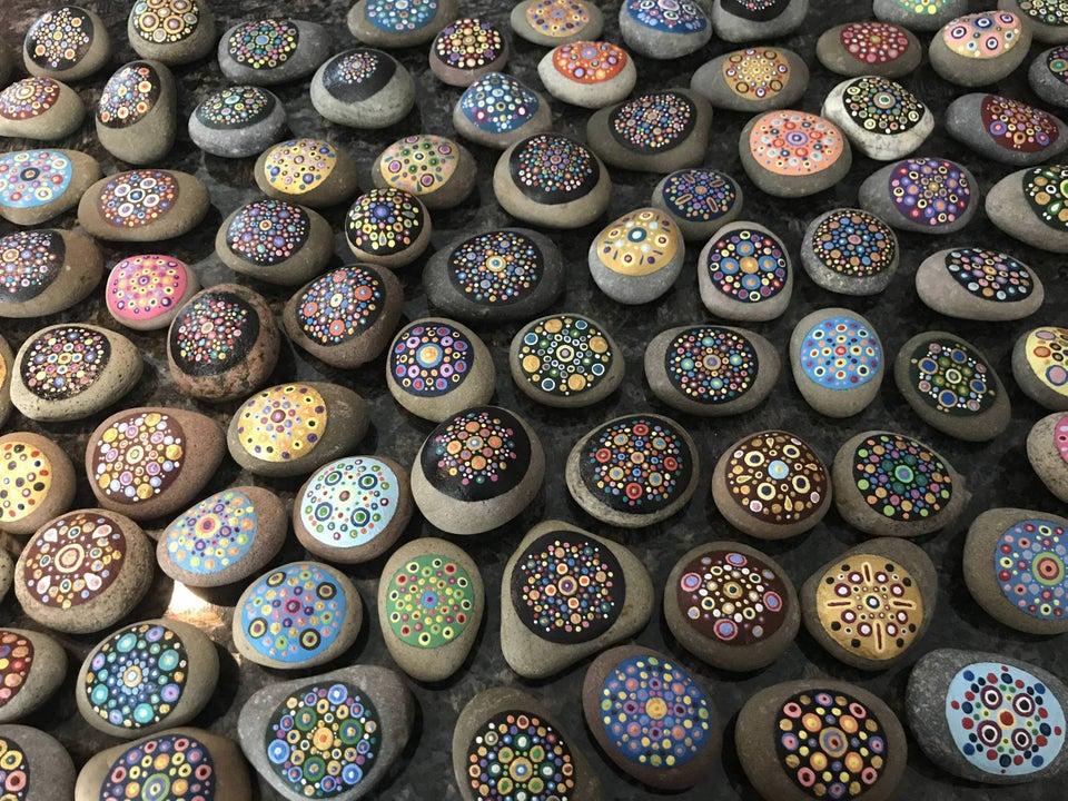 painted rocks wedding favor