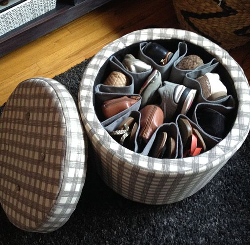 storage ottoman with shoes inside of it for the dorm