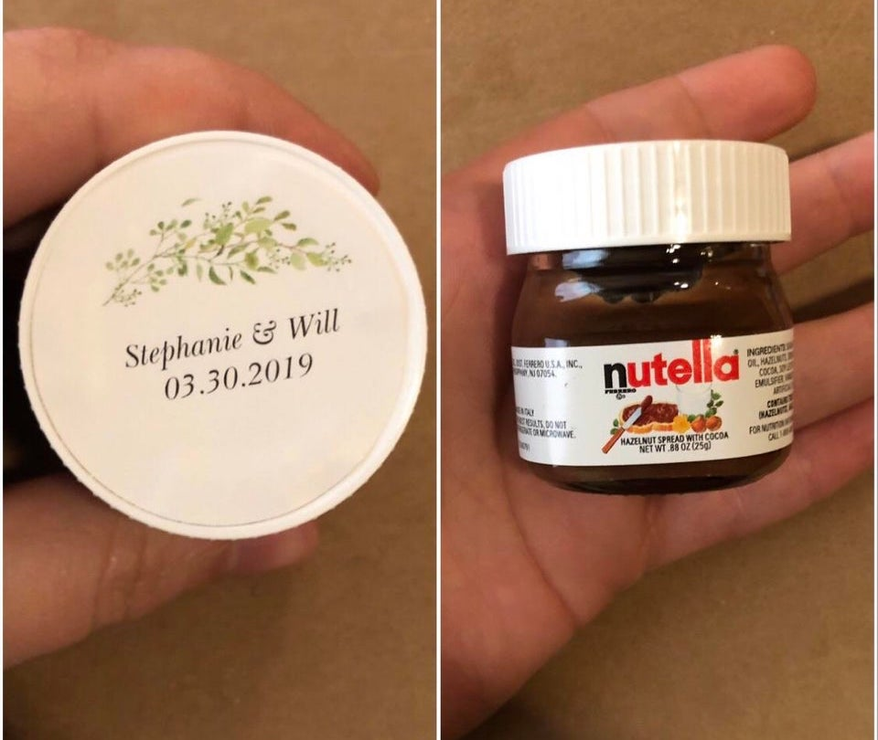 nutella wedding favor