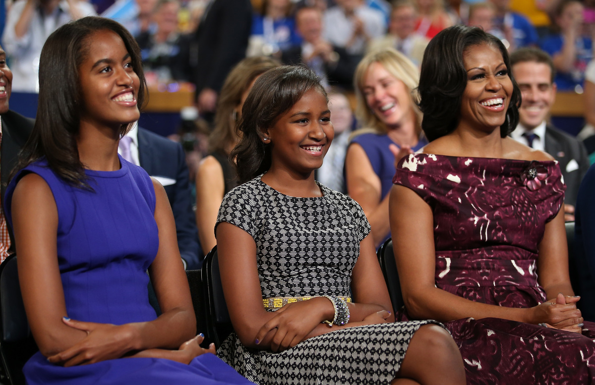 Michelle, Sasha, Malia at 2012 DNC watching Barack Obama