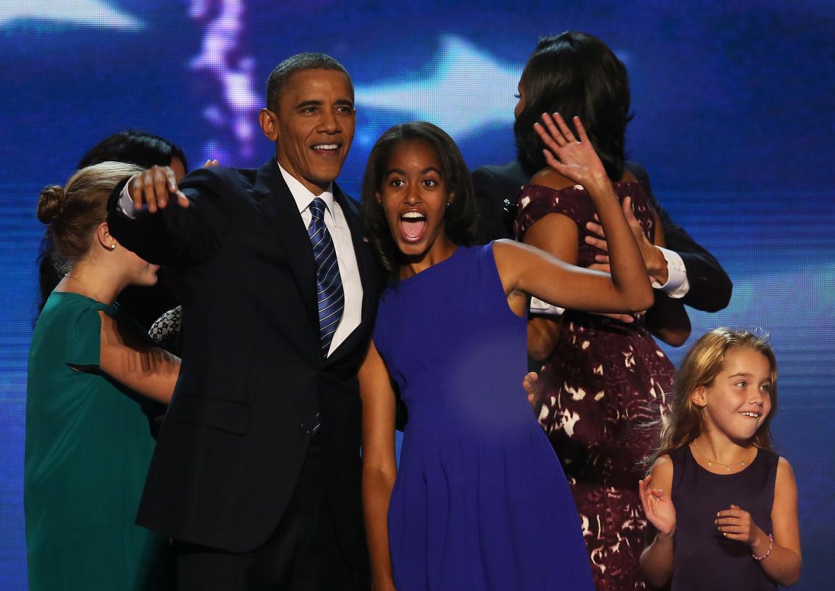 Malia and Barack Obama at Democratic National Convention 2012