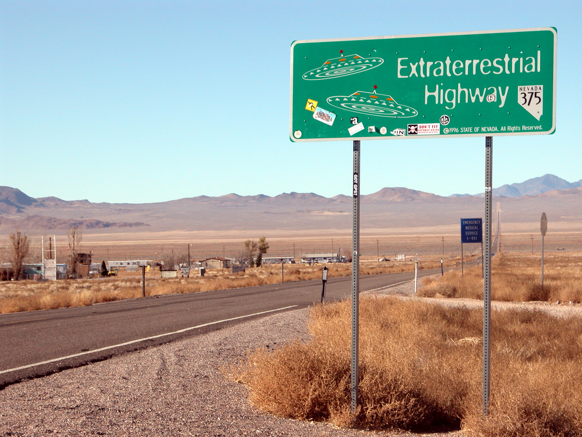 sign for the 'Extraterrestrial Highway' in Rachel, Nevada near Area 51