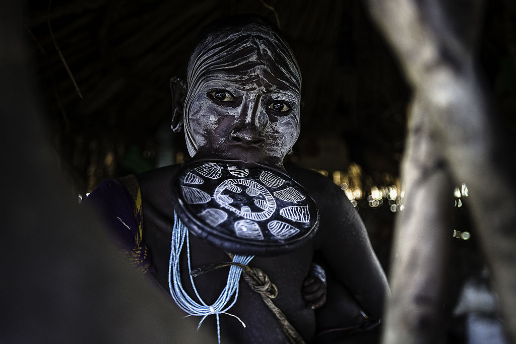 the Mursi tribe They are nomadic cattle herders live in the lower Omo Valley inside the mago national park near the Sudanese border.-170795896