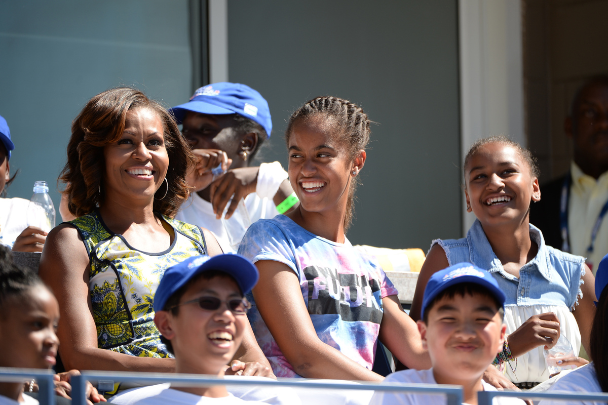 FLOTUS Michelle with Malia and Sasha at USTA Tennis Center in Queens