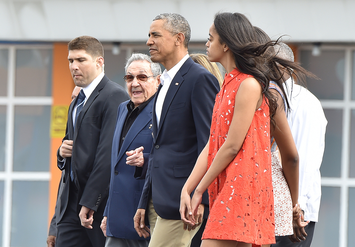 Malia with Obama and Castro on March 2016 visit to cuba
