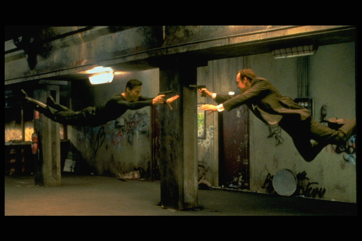 The Matrix 1999 Keanu Reeves and Hugo Weaving