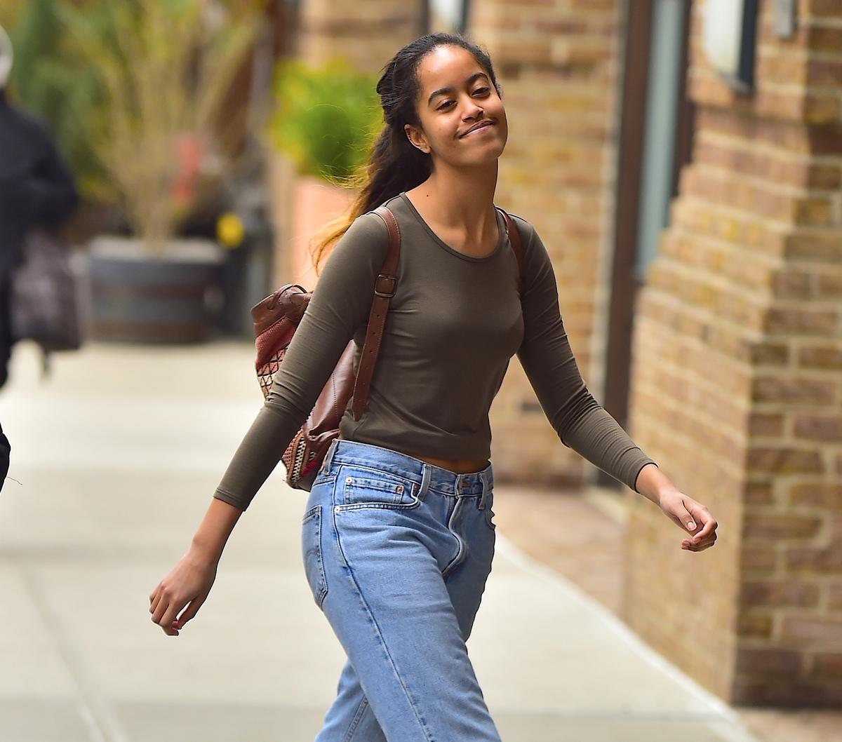 Malia Obama walking alone in Tribeca