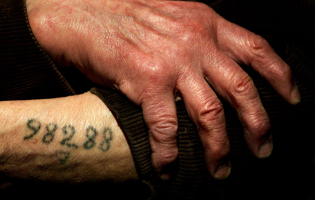 Auschwitz survivor Mr. Leon Greenman, prison number 98288, displays his number tattoo on December 9, 2004 at the Jewish Museum in London, England-72315525