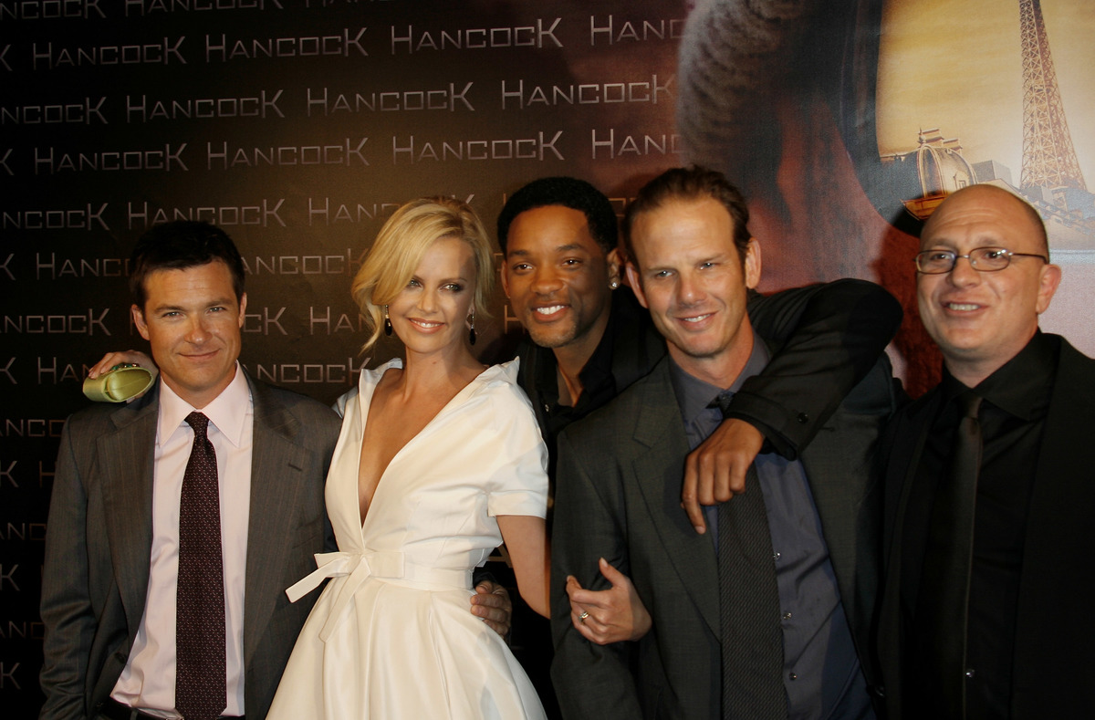 Will Smith with Hancock Cast Jason Bateman and Charlize Theron