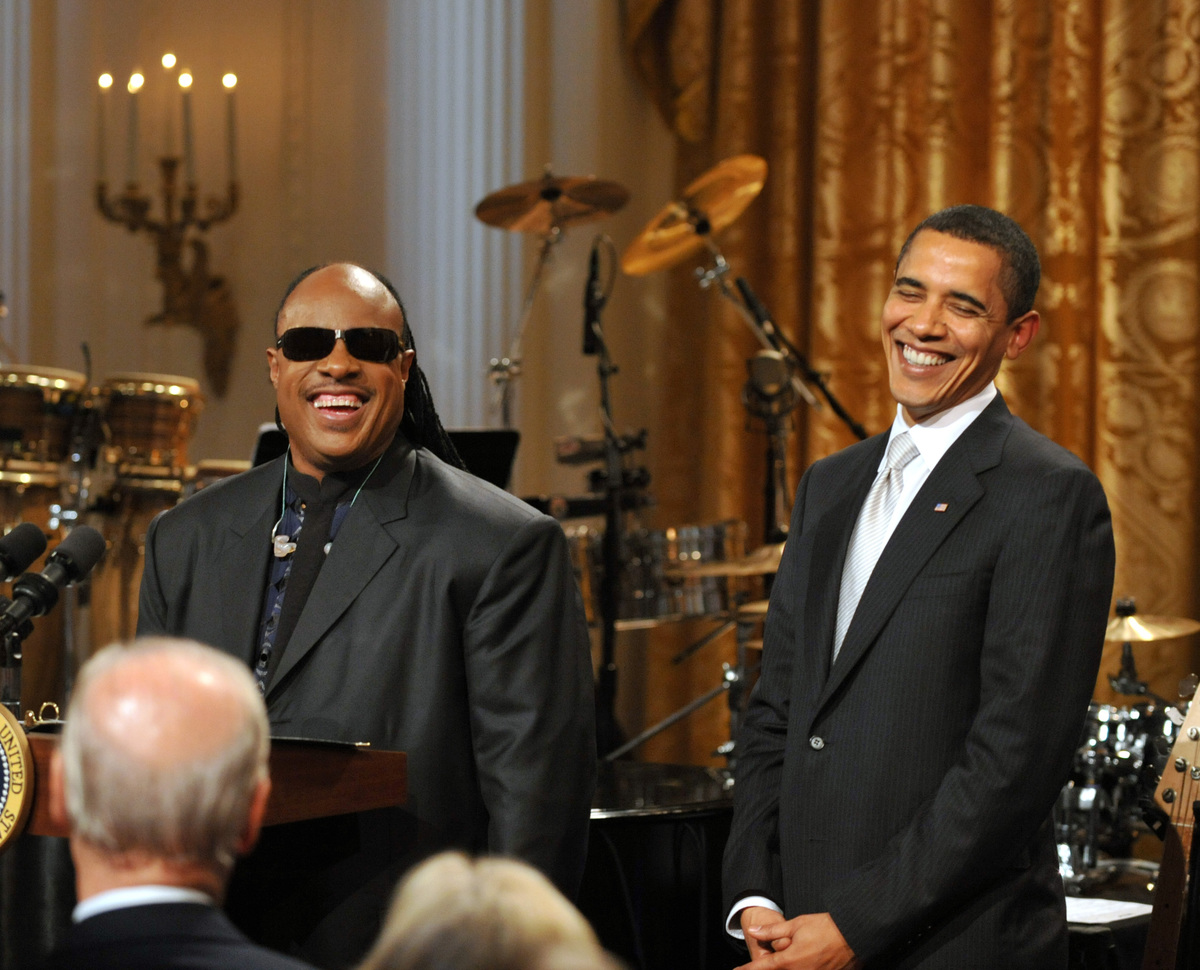President Barack and Stevie Wonder 2009 at Library of Congress